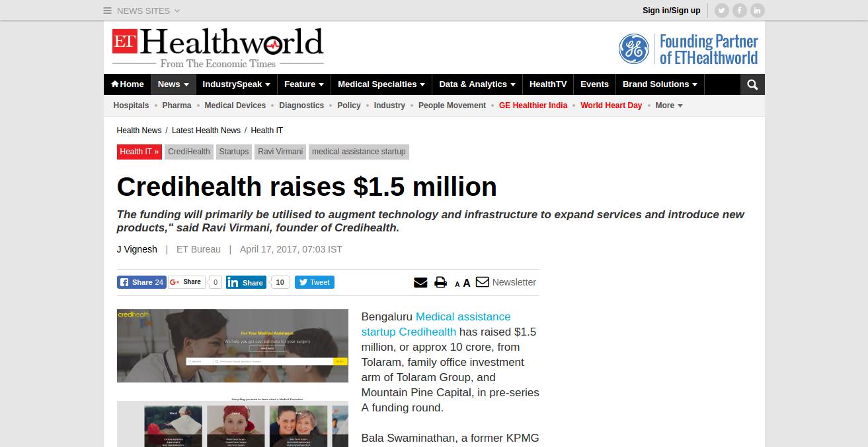 CrediHealth_ Credihealth raises $1.5 m_ – http___health.economictimes.indiat